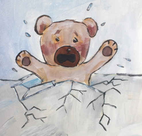 flapjax the bear falling through the ice