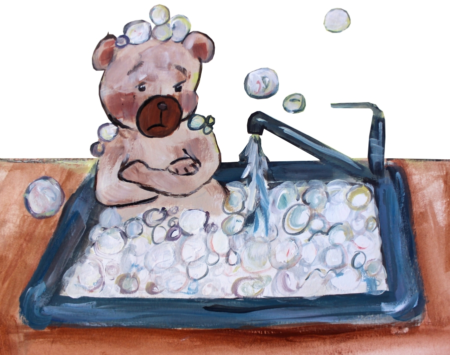 flapjax the bear in a sink bubble bath
