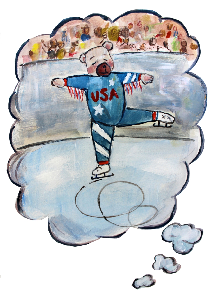 Flapjax dreaming of skating in the Olympics